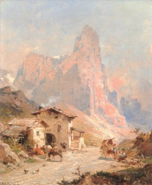 Figures in A Village in the Dolomites scenery Franz Richard Unterberger Oil Paintings